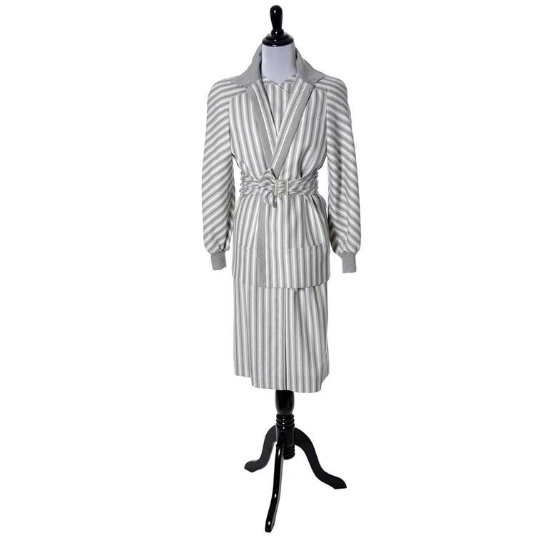 Vintage Valentino Dress Coat Ensemble Belt Abstract Stripes 1980s In Excellent Condition For Sale In Portland, OR