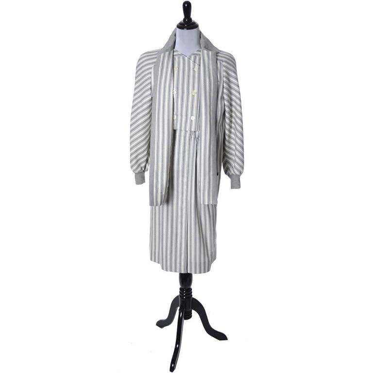 Vintage Valentino Dress Coat Ensemble Belt Abstract Stripes 1980s For Sale 1
