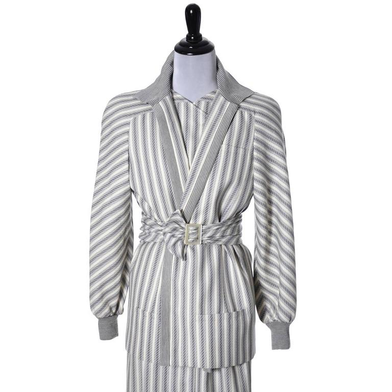 Gray Vintage Valentino Dress Coat Ensemble Belt Abstract Stripes 1980s For Sale
