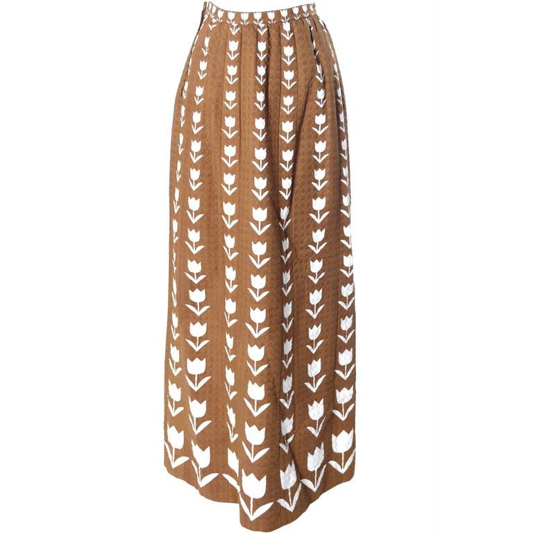 Vintage Hubert de Givenchy Skirt Documented from 1974 Brown & White Tulip Print