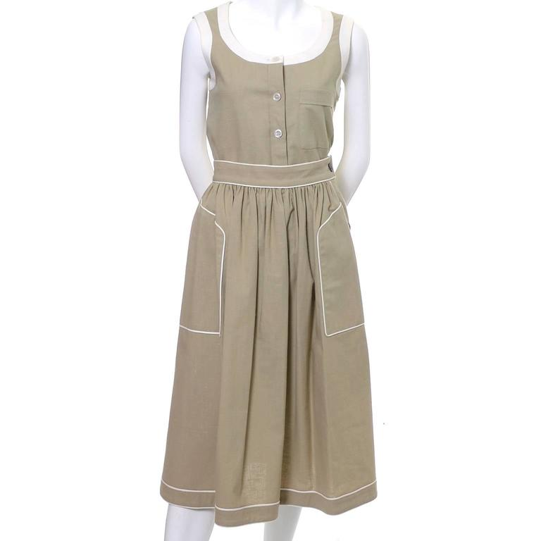 1970s Valentino Vintage 2pc Linen Dress Skirt Top Ensemble Made in France 6 5