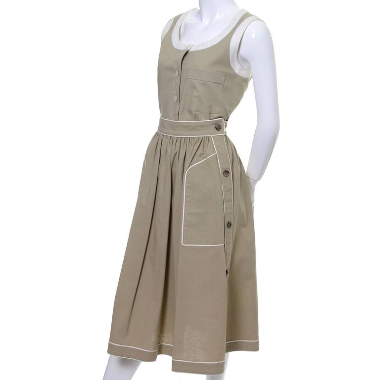 Gray 1970s Valentino Vintage 2pc Linen Dress Skirt Top Ensemble Made in France 6 For Sale