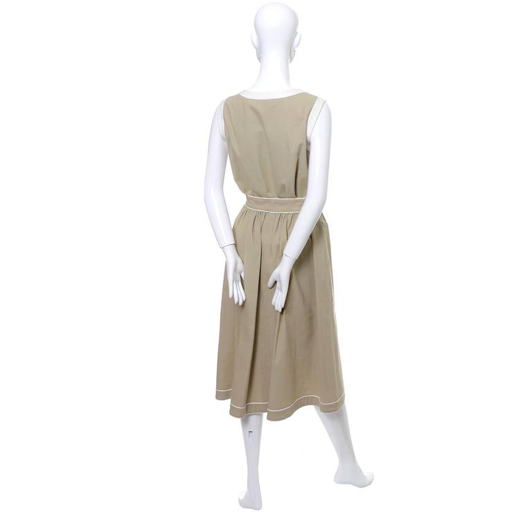 1970s Valentino Vintage 2pc Linen Dress Skirt Top Ensemble Made in France 6 For Sale 1