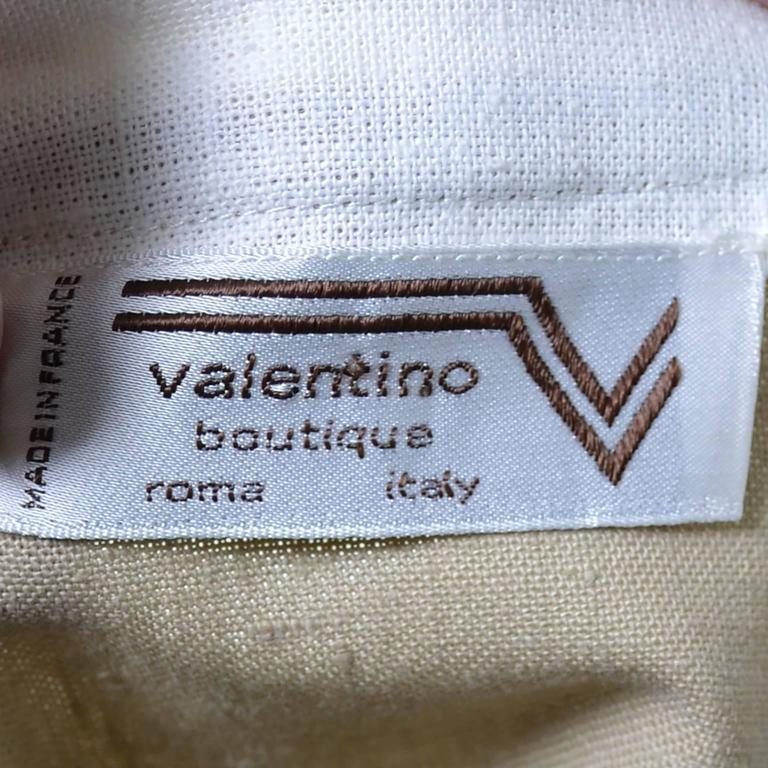 1970s Valentino Vintage 2pc Linen Dress Skirt Top Ensemble Made in France 6 For Sale 2