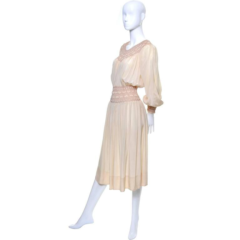 Beige 1920s Bohemian Silk Embroidered Vintage Dress Smock Pleating Peasant  For Sale