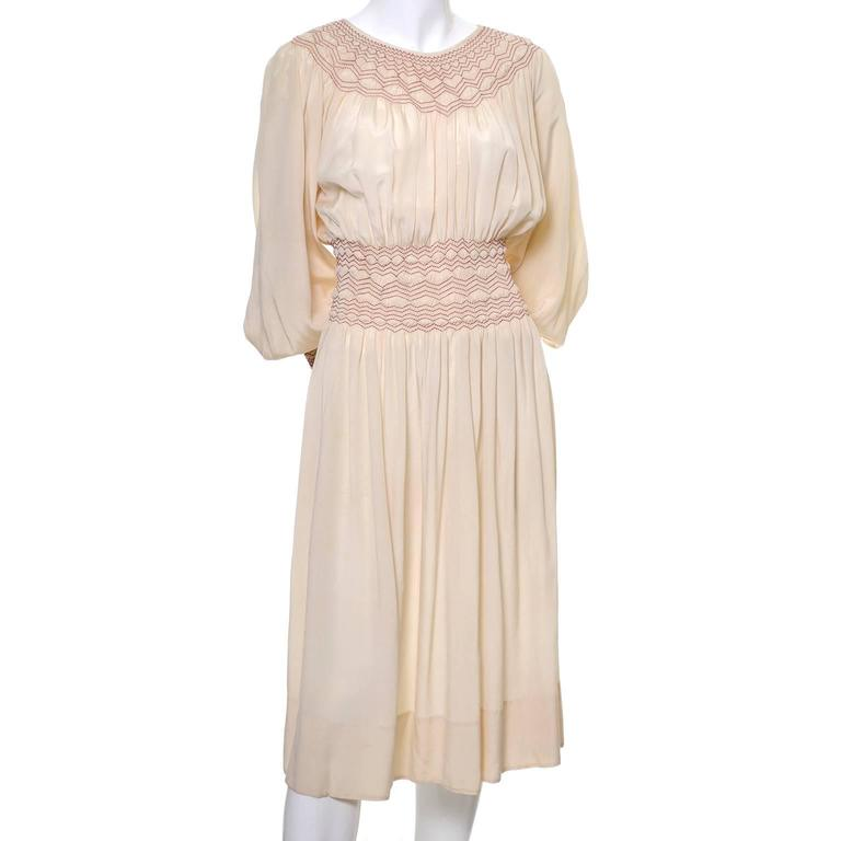 1920s Bohemian Silk Embroidered Vintage Dress Smock Pleating Peasant  In Excellent Condition For Sale In Portland, OR