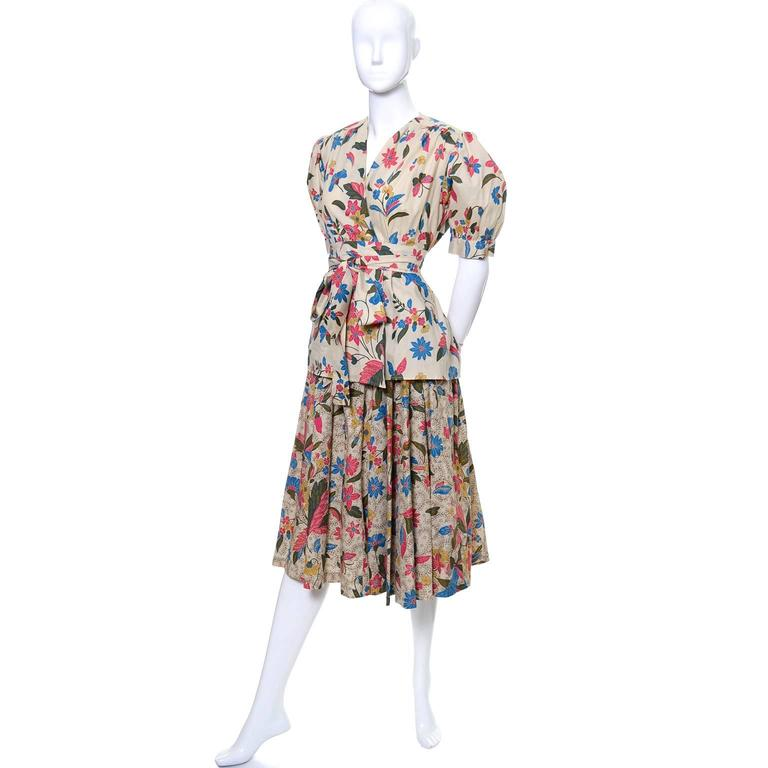 YSL 1970s Vintage 2pc Dress Floral Skirt Top Russian Peasant Yves Saint Laurent In Excellent Condition For Sale In Portland, OR