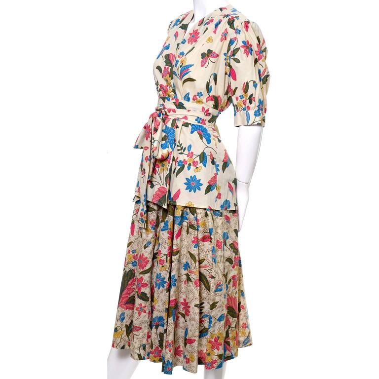 YSL 1970s Vintage 2pc Dress Floral Skirt Top Russian Peasant Yves Saint Laurent For Sale 1