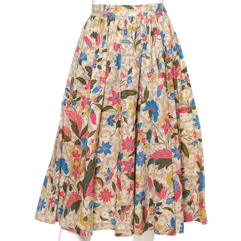 YSL 1970s Vintage 2pc Dress Floral Skirt Top Russian Peasant Yves Saint Laurent For Sale 2
