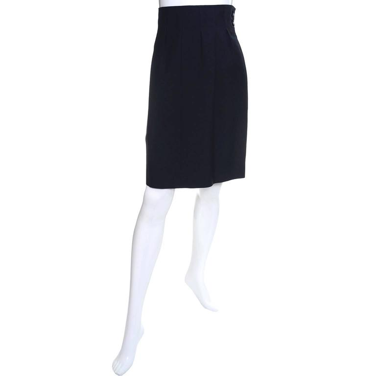 This is a fabulous vintage skirt from Yves Saint Laurent with a high waist, side zipper, and side slit pockets.  This skirt is in excellent condition and is fully lined.  Please use the measurements as a guide for the best fit, but it is labeled a