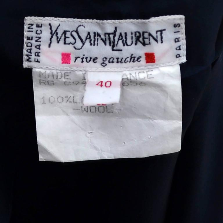 1990s High Waisted YSL Vintage Black Wool Skirt Yves Saint Laurent Rive Gauche In Excellent Condition For Sale In Portland, OR