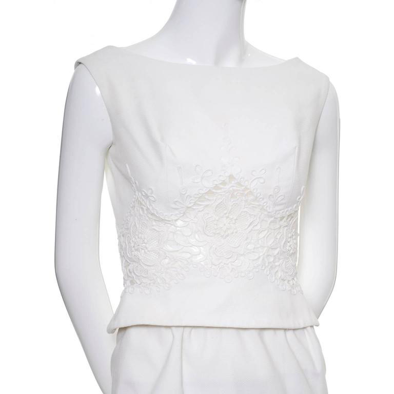Carlye White Pique Vintage Dress 2pc Lace Mesh Peek a Boo Peplum Bodice XS For Sale 4