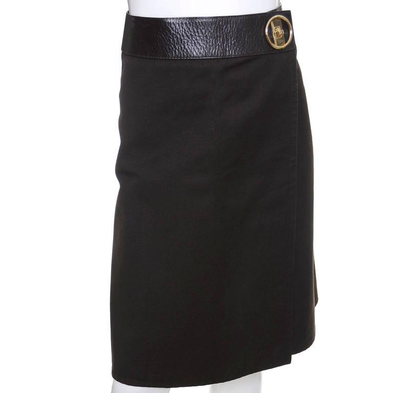 Black 1970s Vintage Celine Skirt Paris Brown With Leather Trim & Gold Buckle For Sale