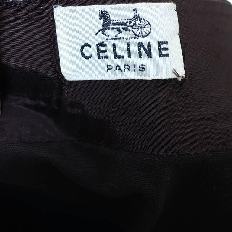 Women's 1970s Vintage Celine Skirt Paris Brown With Leather Trim & Gold Buckle For Sale