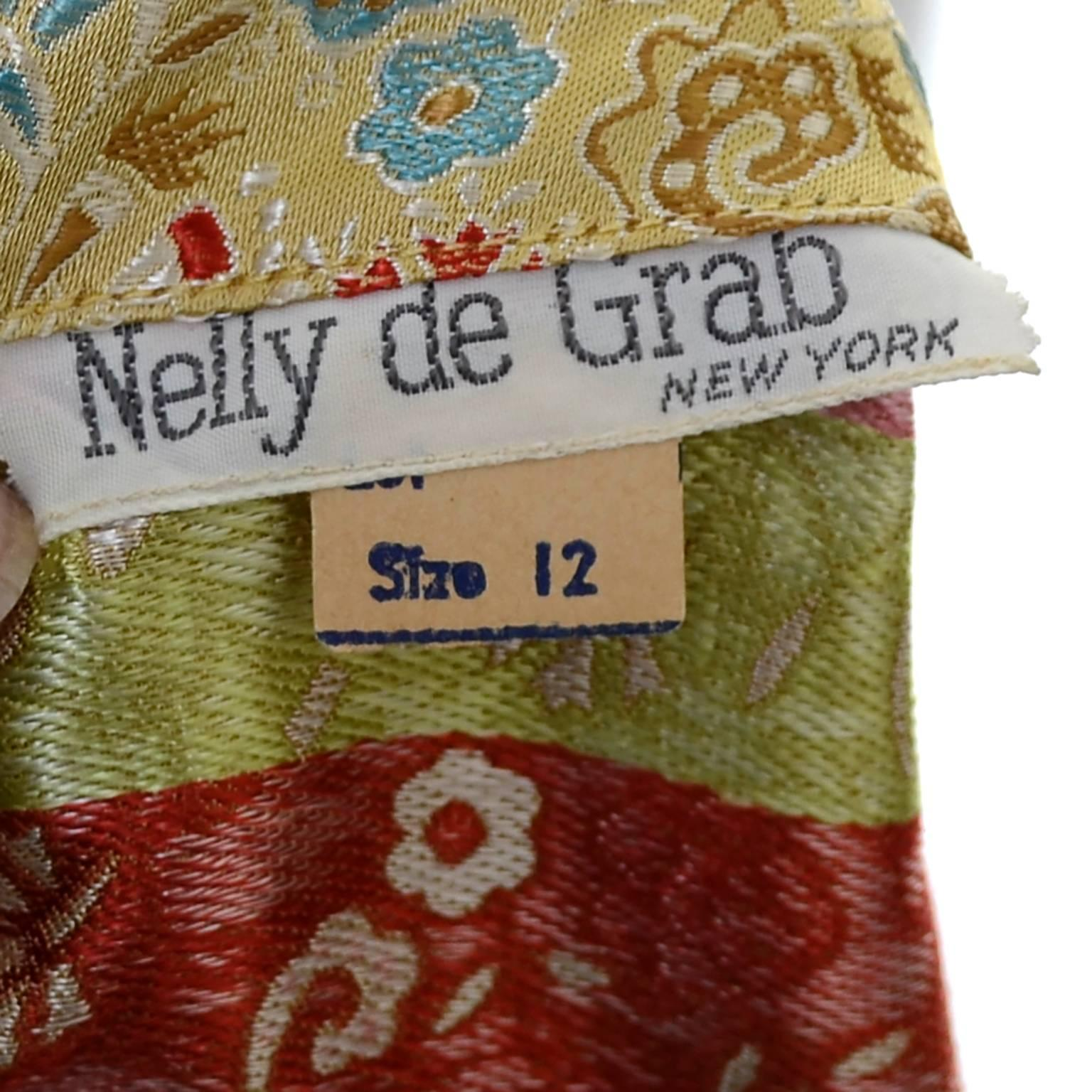 873a4d62a 1950s 2 pc Vintage Dress Nelly de Grab New York Gold Brocade Floral Skirt  Top at 1stdibs