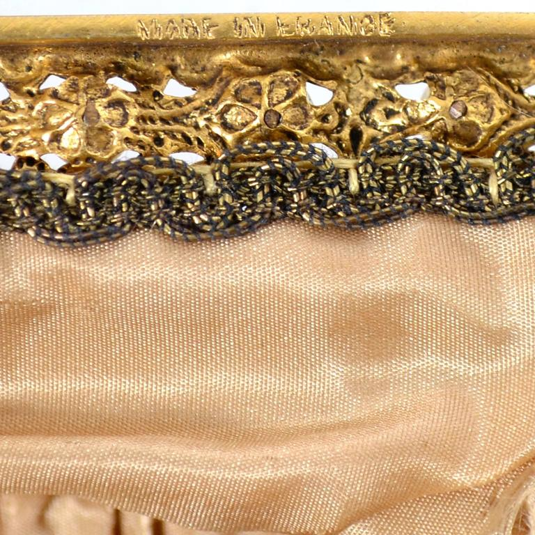 Women's French Vintage Evening Bag Handbag Metallic Embroidery Beaded Pearls Gold Silk For Sale