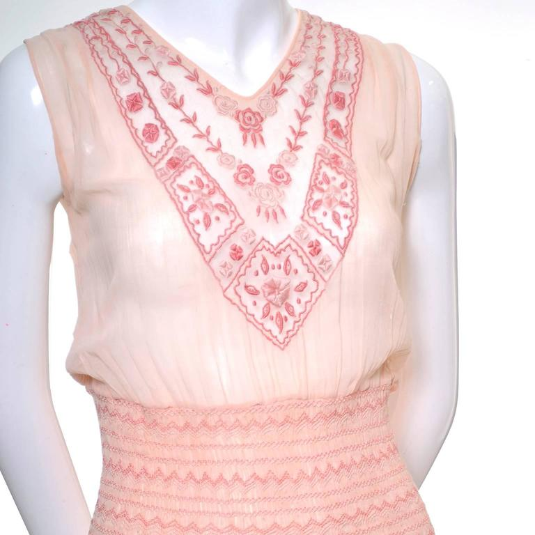Bohemian 1920s Vintage Dress Cotton Voile Smock Pleating Embroidery 3