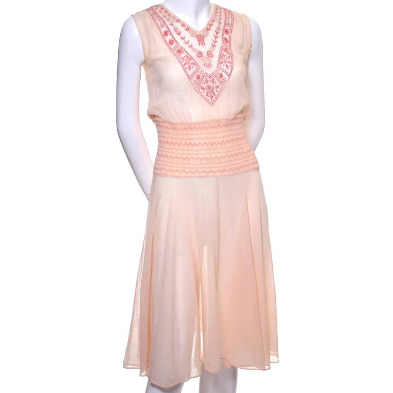 Bohemian 1920s Vintage Dress Cotton Voile Smock Pleating Embroidery 6