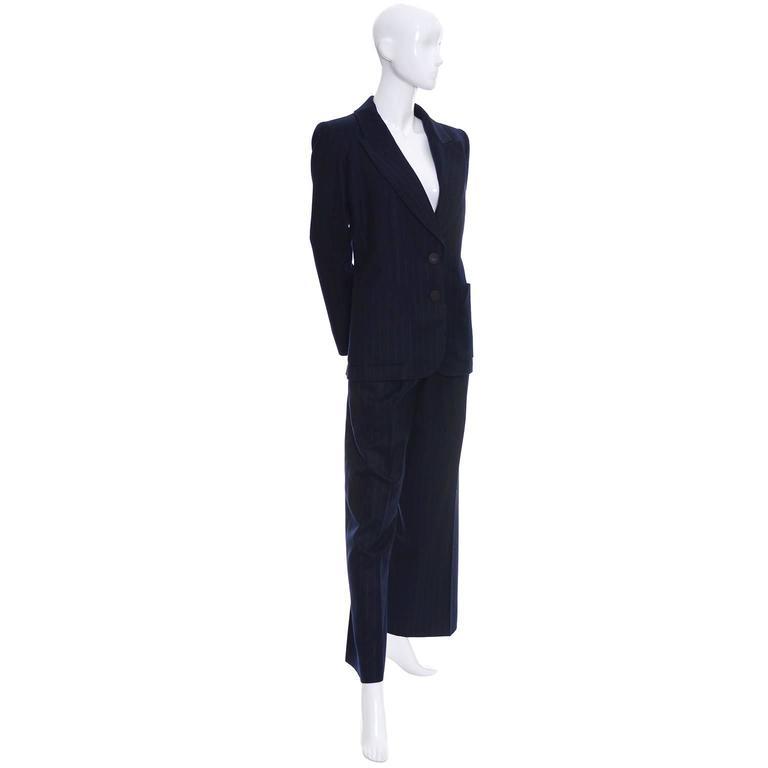 Yves Saint Laurent YSL Vintage Midnight Pinstripe Pantsuit Cashmere Wool 40 4