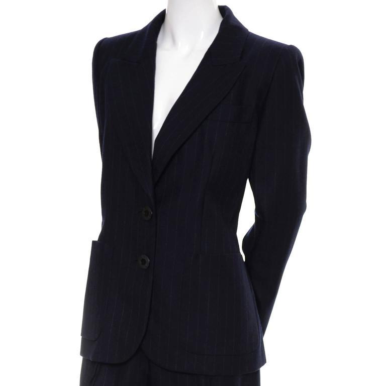 Yves Saint Laurent YSL Vintage Midnight Pinstripe Pantsuit Cashmere Wool 40 3