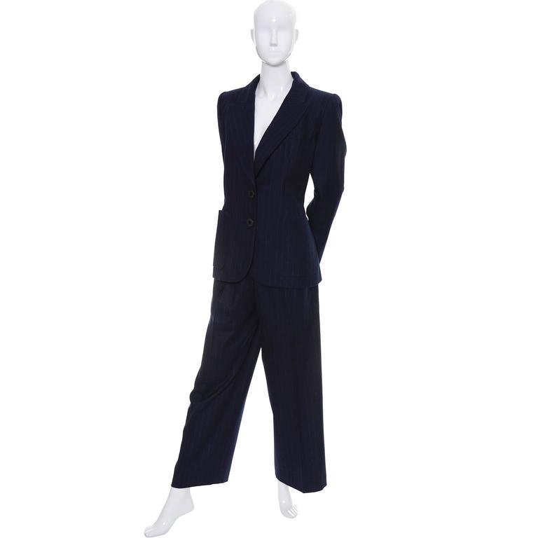 Yves Saint Laurent YSL Vintage Midnight Pinstripe Pantsuit Cashmere Wool 40 2