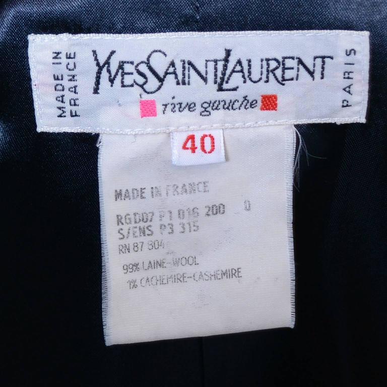 Yves Saint Laurent YSL Vintage Midnight Pinstripe Pantsuit Cashmere Wool 40 7