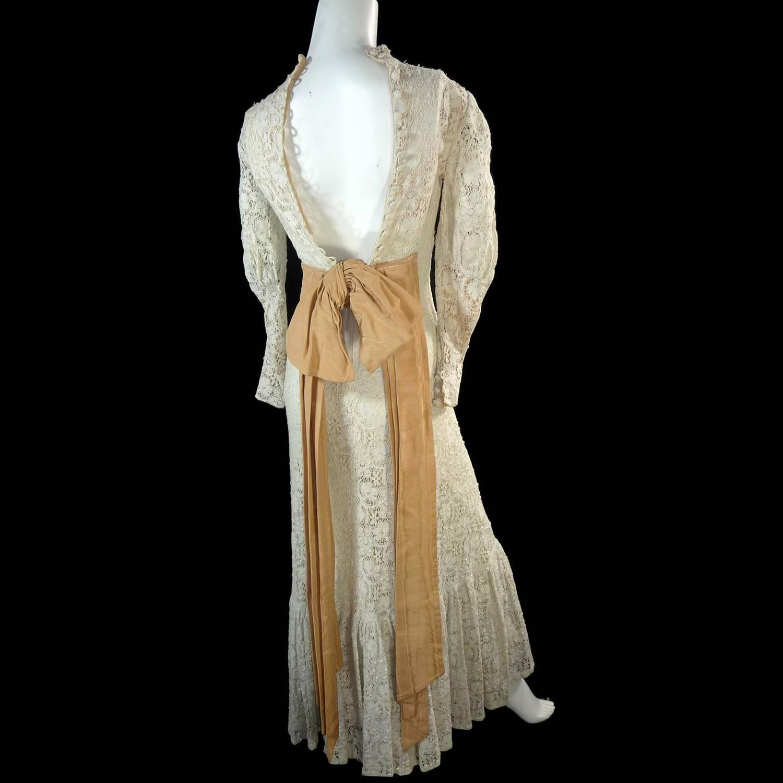Victorian antique crochet lace vintage dress high collar for Vintage victorian wedding dresses
