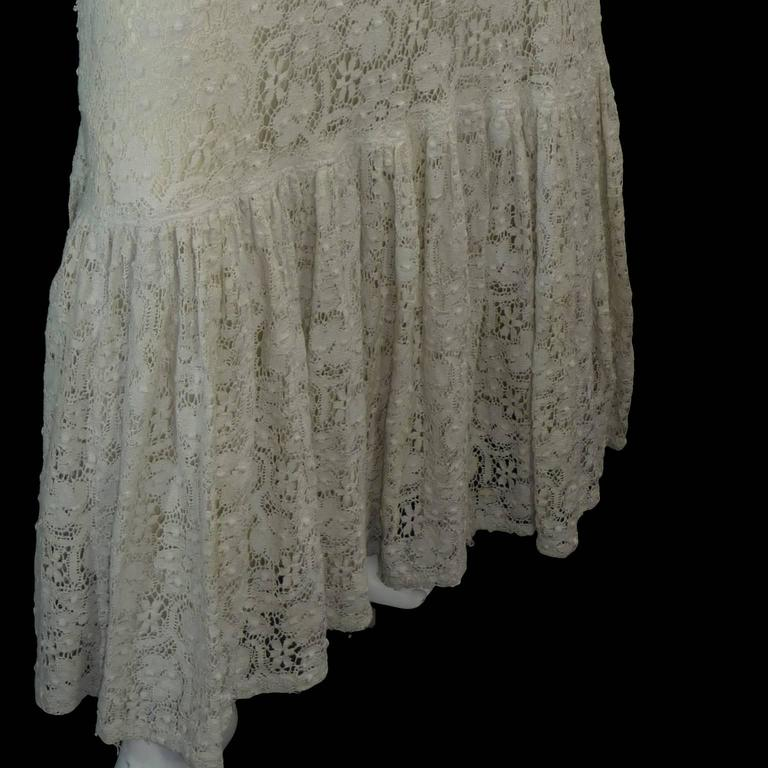 Victorian Antique Crochet Lace Vintage Dress High Collar Wedding Gown Size 2 4