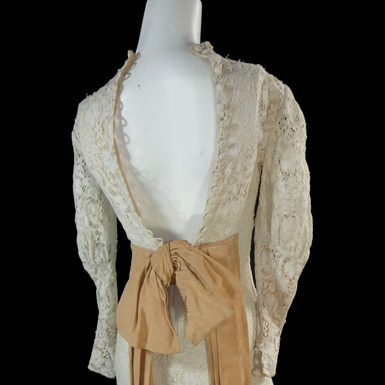 Victorian antique crochet lace vintage dress high collar for Crochet wedding dresses for sale
