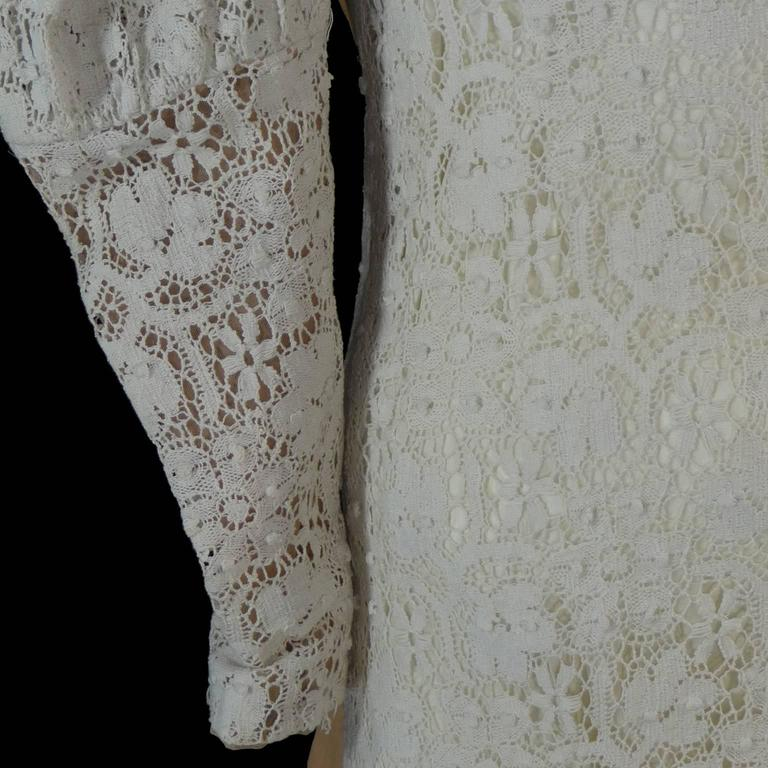 Victorian Antique Crochet Lace Vintage Dress High Collar Wedding Gown Size 2 7