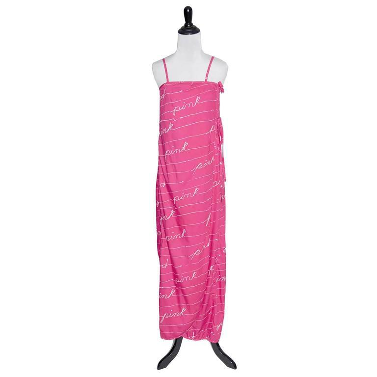 1970s Bill Tice Dress I Magnin Vintage Dresses Pink Cotton Maxi Novelty Print 2
