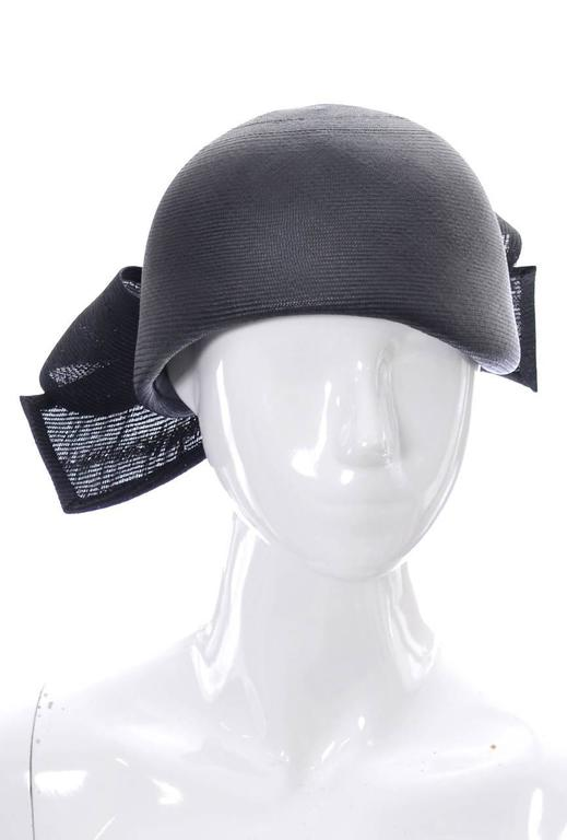 Black 1960s Adolfo Saks Fifth Avenue Navy Blue Straw Brimless Hat Bow For Sale