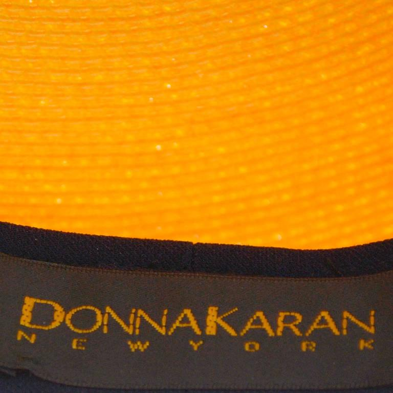 Donna Karan Vintage Hat Marigold Yellow Straw and Silk Beret In Excellent Condition For Sale In Portland, OR