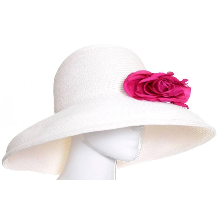 Gray 1990s Vintage Eric Javits Hat White Wide Brim Woven Straw Pink Flowers As New For Sale