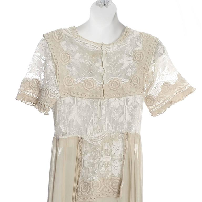 Edwardian Lace Embroidered Fine Vintage Dress or Wedding Dress 6