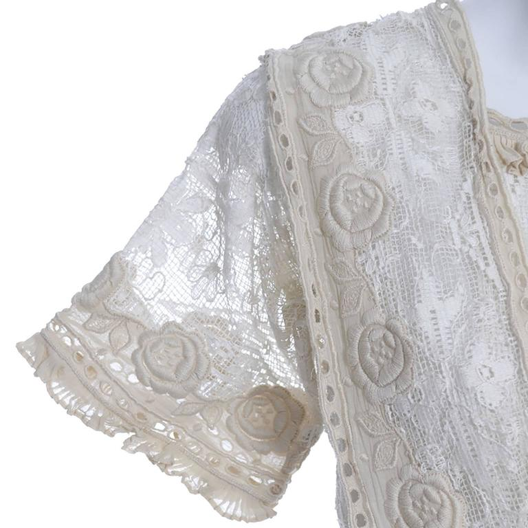 Edwardian Lace Embroidered Fine Vintage Dress or Wedding Dress 2