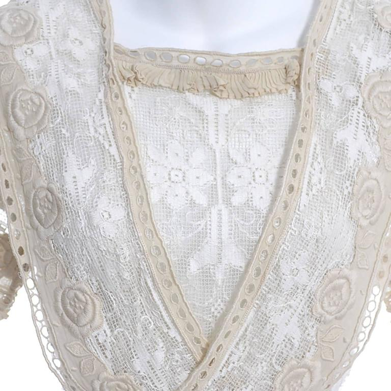 Edwardian Lace Embroidered Fine Vintage Dress or Wedding Dress 4