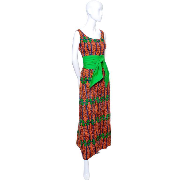 Design Thai Vintage Dress in Blue Green & Orange Cotton Tropical Print Size 6/8 2