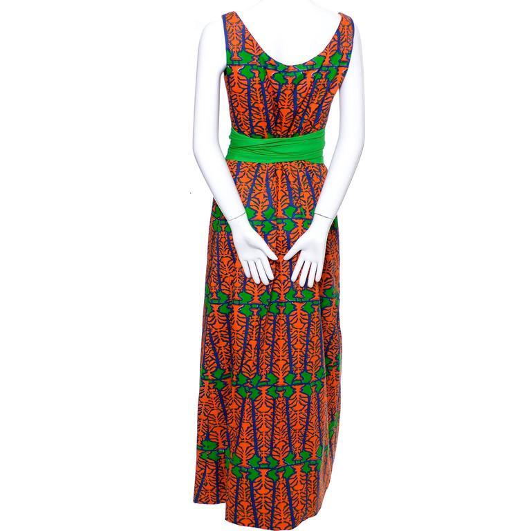 Design Thai Vintage Dress in Blue Green & Orange Cotton Tropical Print Size 6/8 5