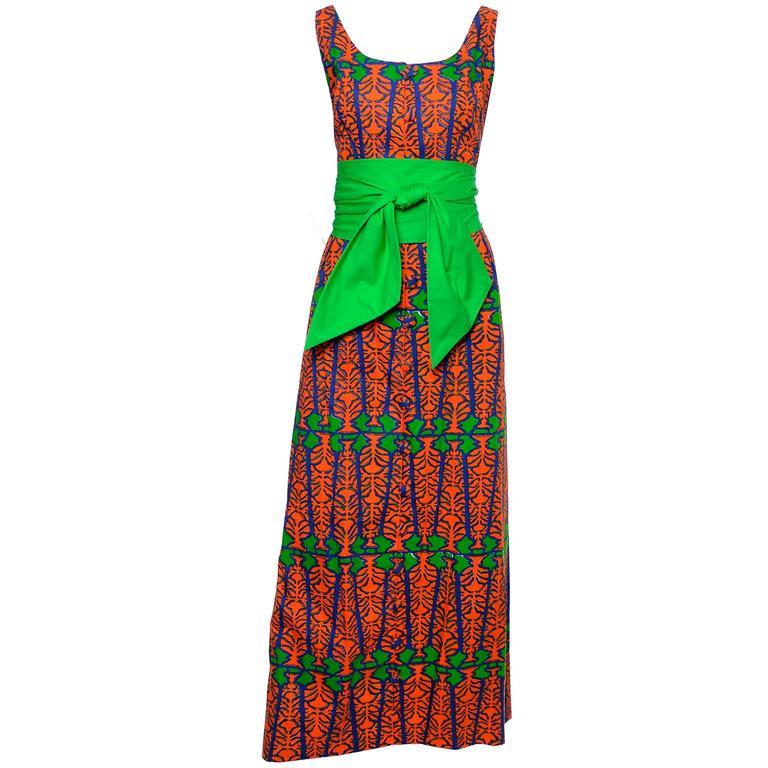Design Thai Vintage Dress in Blue Green & Orange Cotton Tropical Print Size 6/8 4