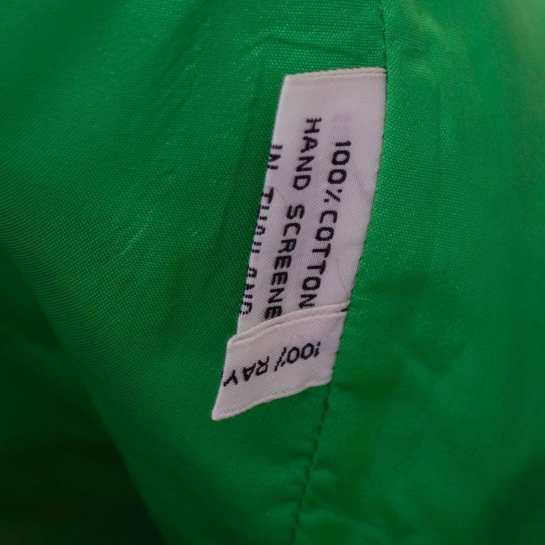 Design Thai Vintage Dress in Blue Green & Orange Cotton Tropical Print Size 6/8 8