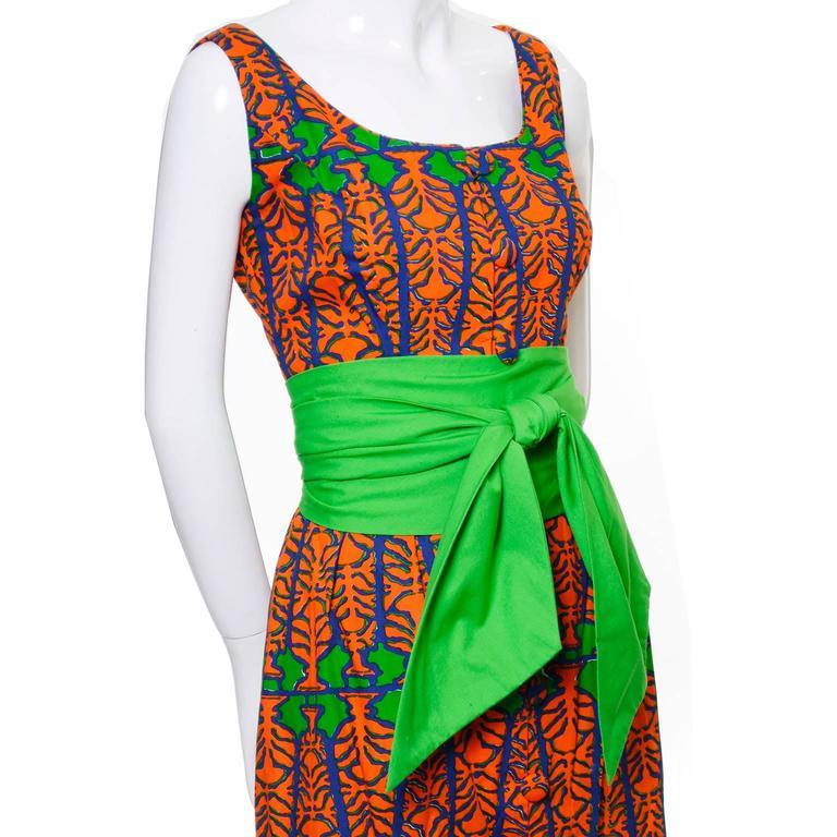 Design Thai Vintage Dress in Blue Green & Orange Cotton Tropical Print Size 6/8 3