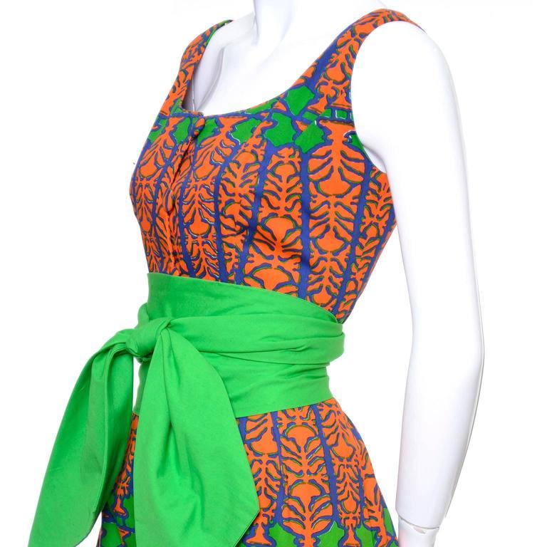 Design Thai Vintage Dress in Blue Green & Orange Cotton Tropical Print Size 6/8 6