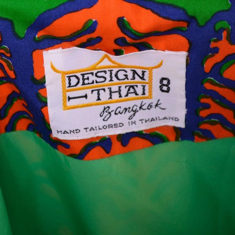 Design Thai Vintage Dress in Blue Green & Orange Cotton Tropical Print Size 6/8 7