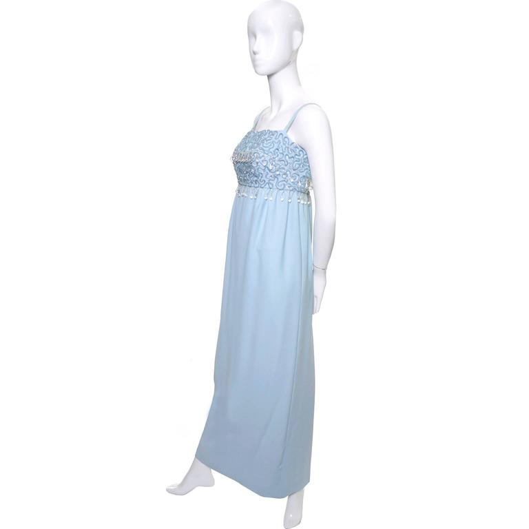 1960s Emma Domb Vintage Dress Blue Beaded Sequins Evening Gown  For Sale 1
