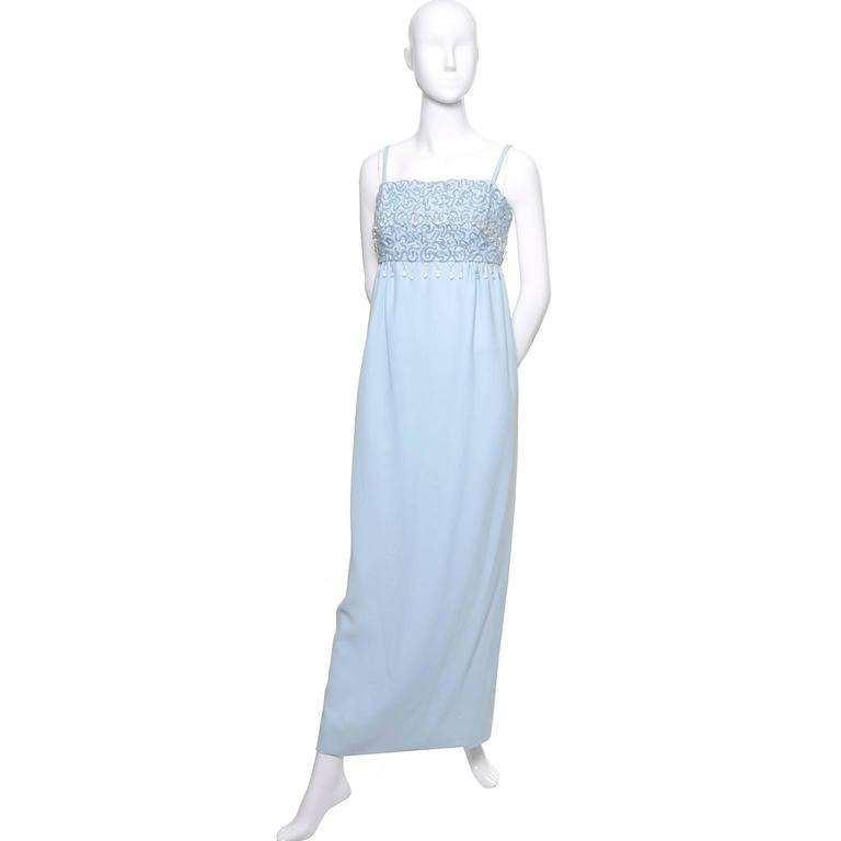 Women's 1960s Emma Domb Vintage Dress Blue Beaded Sequins Evening Gown  For Sale