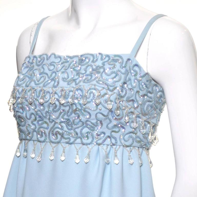1960s Emma Domb Vintage Dress Blue Beaded Sequins Evening Gown  For Sale 3