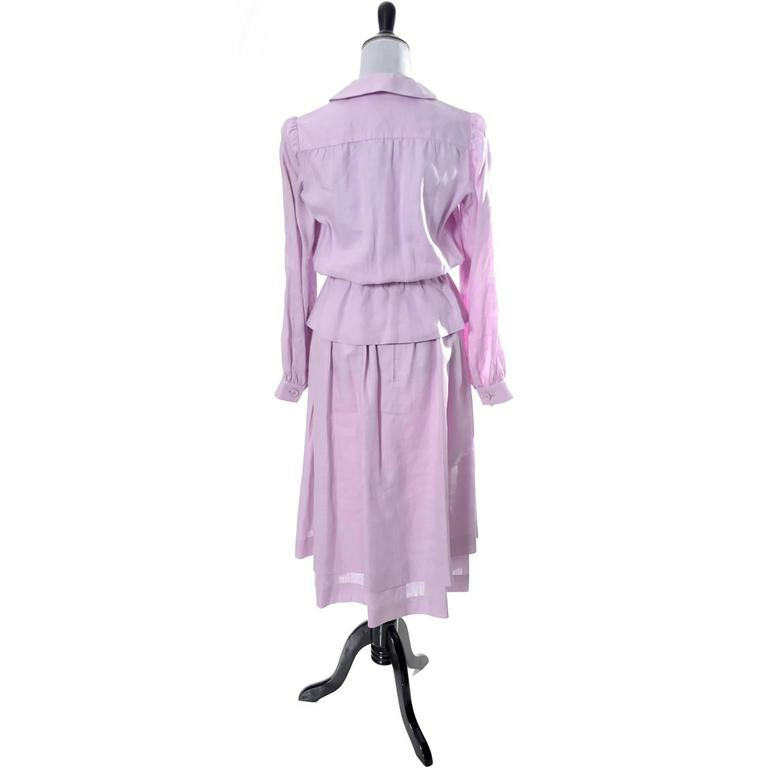 Women's Vintage Valentino 2 Piece Lavender Purple Linen Dress and Skirt Made in France  For Sale