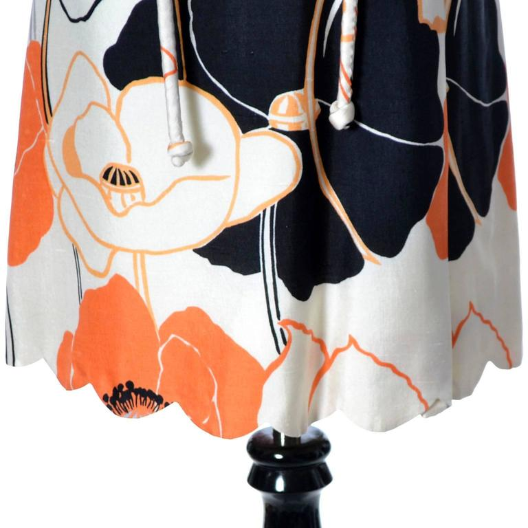 Beige 1960s Tina Leser Dress in Bright Mod White Orange & Black Floral Silk For Sale