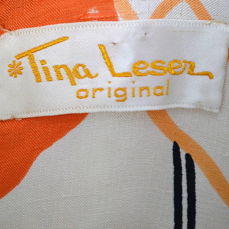 1960s Tina Leser Dress in Bright Mod White Orange & Black Floral Silk In Excellent Condition For Sale In Portland, OR